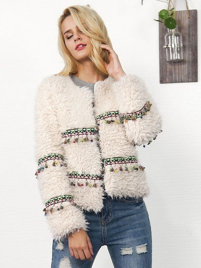 To find out about the Embroidered Tape Fringe Detail Teddy Coat at SHEIN, part of our latest Outerwear ready to shop online today!