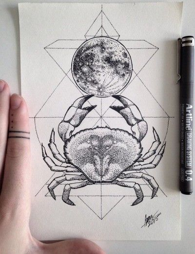 Dotwork Crab And Full Moon With Geometric Drawings Tattoo Design Tattooimages Biz In 2020 Zodiac Sign Cancer Tattoo Cancer Zodiac Tattoo Astrology Tattoo