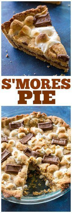 Easy S'mores Pie - Schichten von Graham Cracker Teig Marshmallows und Schokolade. #s ..., #Cracker #Easy #Graham #Marshmallows #Pie #Schichten #Schokolade #Smores #smorespies #Teig #und #von