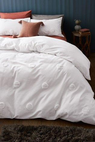 Buy 100 Cotton Tufted Spot Duvet Cover And Pillowcase Set From The Next Uk Online Shop Duvet Covers King Size Duvet Covers White Duvet Covers