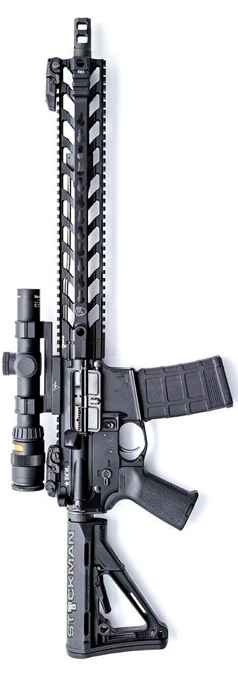 """The new 14"""" Fortis Manufacturing rail on a Bravo Company 14.5"""" Midlength upper. Photo by Stickman. - http://www.RGrips.com"""
