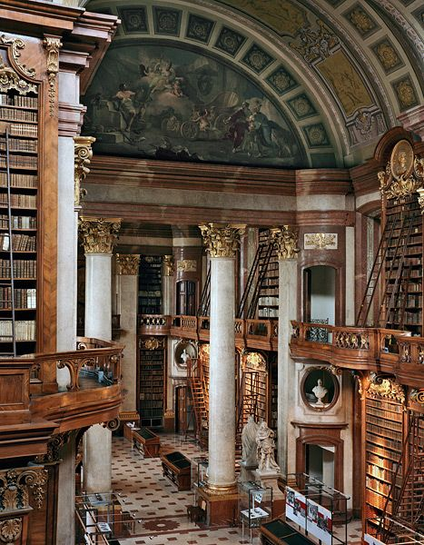 "This magnificent space is part of the Austrian National Library, located in the imperial Hofburg Palace in Vienna. Formerly known as the Imperial Library (Hof-Bibliothek), the State Hall (""P… Beautiful Library, Dream Library, Grand Library, Mini Library, Library Card, Library Books, Future House, My House, Castle House"