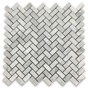 Carrara White Marble 5 8x1 1 4 Herringbone Mosaic Tile Honed Herringbone Mosaic Tile Marble Mosaic Floor Carrara Marble Tile