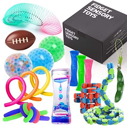 Fidget Toys Set with Stress Balls for Kids, Teens and Adults, 18 Pack Stretchy Sensory Tool with Liquid Motion Timer for ADHD, Autism and Anxiety, Fun Fidgeting Game for Classroom and Office Cool Fidget Toys, Cool Toys, Toddler Toys, Kids Toys, Autism Teens, Figet Toys, Sensory Tools, Sensory Toys For Autism, Stress Toys