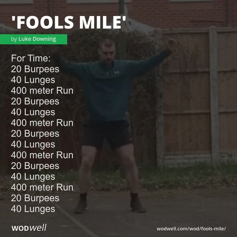 """""""Fools Mile"""" WOD - For Time: 20 Burpees; 400 meter Run; 400 meter Run; 400 meter Run; 400 meter Run; Wods Crossfit, Crossfit At Home, Wod Workout, Track Workout, Burpees, Fitness Tips, Health Fitness, Hair Growth Home Remedies, Cardio Challenge"""