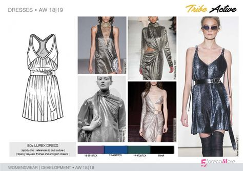 fashion Trends FW Trend forecast: LUREX DRESS, sporty chic, references to club culture, development designs by Fashion trend forecasting.