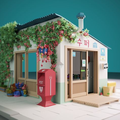 Korean shop low poly 3D, Ângelo Fernandes