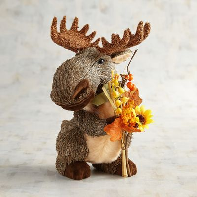 Natural Moose With Bouquet Thanksgiving Decorations Fall Thanksgiving Decor Fall Thanksgiving