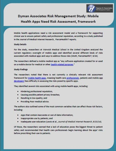 Dyman Associates Risk Management Study Mobile Health Apps Need - health safety risk assessment