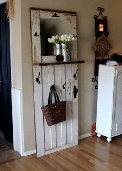 """If I can't remove the entry way closet to make room for an entry way table this type of """"look"""" might work on the smaller wall. ~ Dishfunctional Designs: New Takes On Old Doors: Salvaged Doors Repurposed Porta Diy, Salvaged Doors, Repurposed Doors, Wooden Doors, Recycled Door, Refurbished Door, Recycled Garden Art, Old Barn Doors, Wooden Garden"""