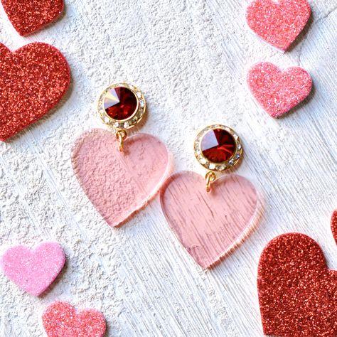 🐣. Offer Xtras! Pink Heart Earrings Valentines Day Swarovski Crystal Ruby Red Light Pink Rhinestone Earrings Large Heart Acetate Studs or Clip on Earrings for $38.50 #RedHeartsEarrings #CrystalHeart #HeartStuds #HeartEarrings #QueenOfHearts #RubyEarrings #ValentinesDay #SwarovskiEarrings #RedHearts #valentine