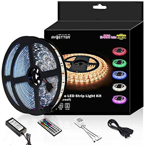 Led Strip Light Waterproof 600leds 32 8ft 10m Waterproof Flexible Color Changing Rgb Smd 5050 600leds Led Strip Light Kit With 44 Keys Ir Remote Contr Led Strip Lighting Strip Lighting Led Lighting Bedroom