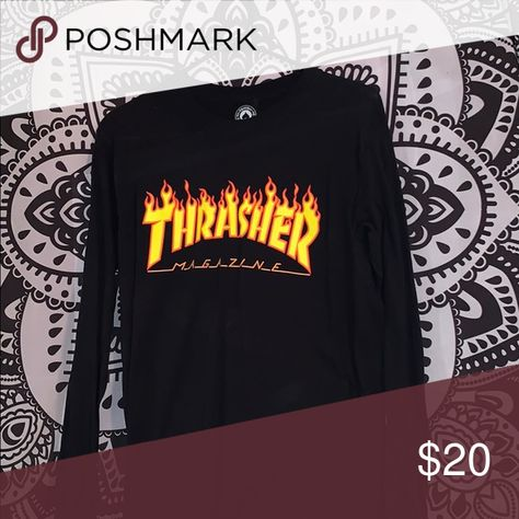 Black Flame Thrasher Long Sleeve Black Thrasher Magazine Ling sleeve Thrasher Tops Tees - Long Sleeve