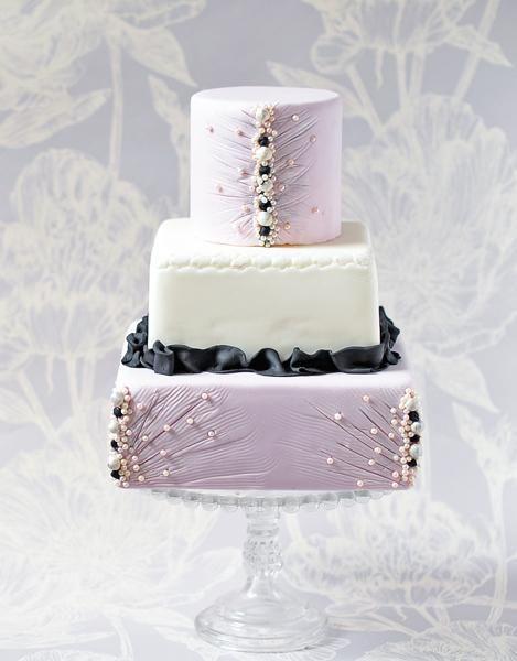 Lavender Black White Wedding Cake Design Lilac