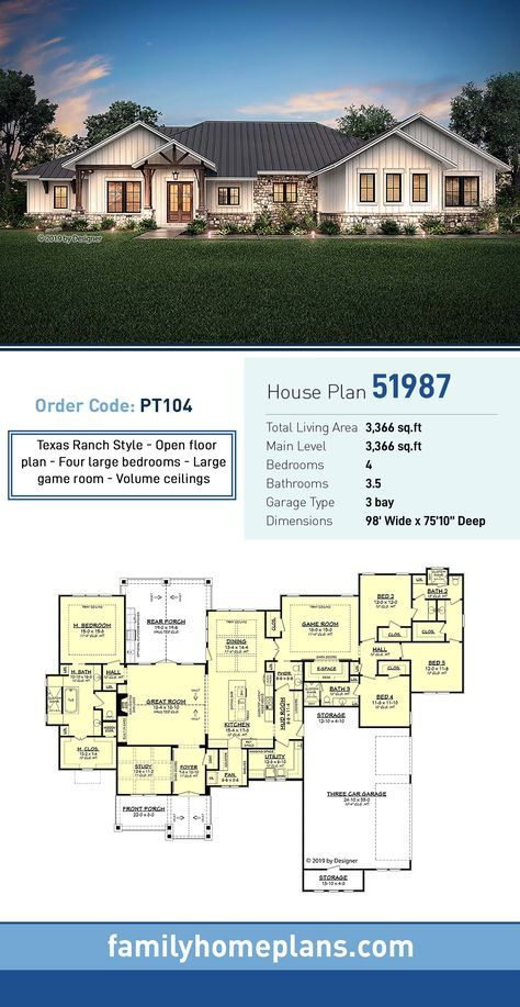 Ranch Style House Plan 51987 with 4 Bed, 4 Bath, 3 Car ... on one level victorian house plans, one level colonial house plans, english cottage house plans, log home plans, one level townhome plans,