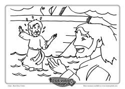 Peter Walks On Water Colouring Page Coloring Pages Peter Walks