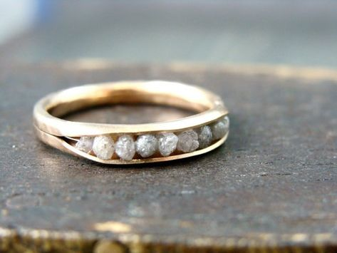 raw diamond rock candy ring by sirenjewels on Etsy