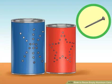 Aluminum cans are a household waste problem. Reuse your aluminum cans by taking them apart to make candle holders, coasters, jewelry, and belts.