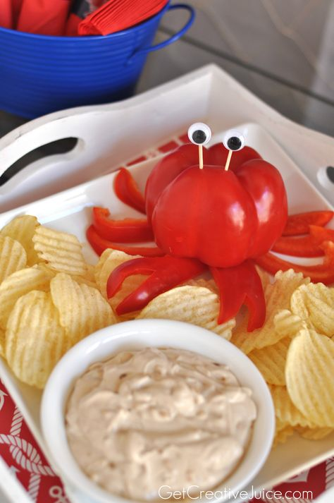 Crab Party Dip - cut a red pepper to look like a crab! Crab Party Dip - cut a red pepper to look like a crab! Little Mermaid Birthday, Little Mermaid Parties, Party Dips, Party Party, Laua Party Ideas, Sea Party Food, Mermaid Party Food, Fiesta Party, Sea Food