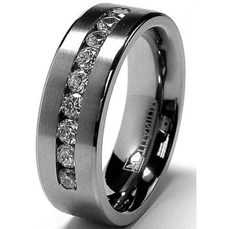 Ringwright Co 8 Mm Men S Titanium Ring Wedding Band With 9 Large Channel Set Cubic Zirconia Cz Sizes 6 To 15 Walmart Com In 2020 Titanium Wedding Band Mens Mens Wedding Rings Titanium Rings For Men