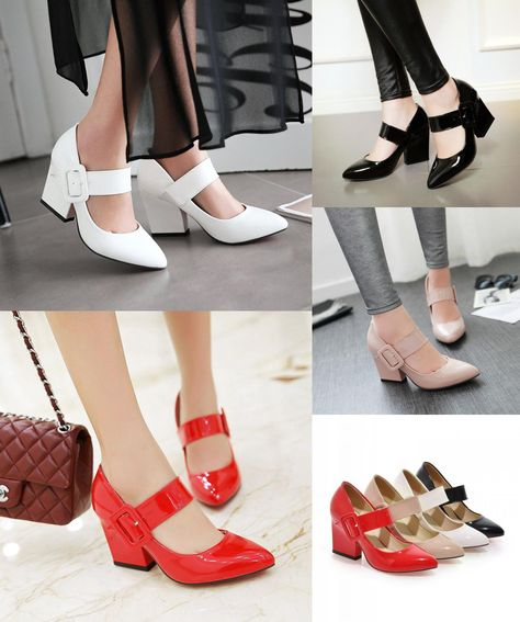 d4e17e65a20b  Visit to Buy  Spring And Autumn Women Shoes Pump Japanned Leather Single  Female Sweet White Pointed Toe Fashion High-Heeled Thick Heel Vintage   ...