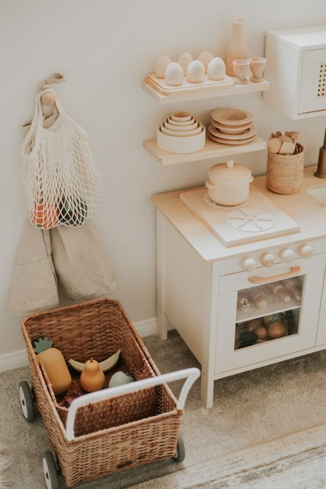 A Modern Inspired Ikea Play Kitchen Makeover — Kandis Marino Photography Playroom Design, Playroom Decor, Loft Playroom, Modern Playroom, Toddler Playroom, Toddler Bed, Ikea Play Kitchen, Toddler Kitchen, Play Kitchens