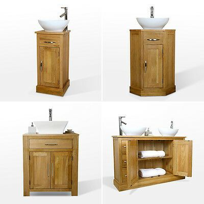 Solid Oak Vanity Unit Cabinet Bathroom Wash Stand Cloakroom Corner Sink Tap Ebay Bathroom Wash Stands Oak Vanity Unit Timber Bathroom Vanities