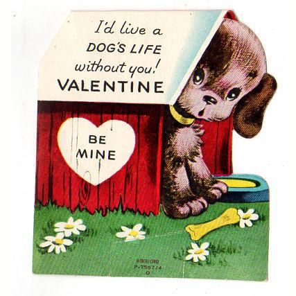 Vintage 1950s A Meri Card Puppy Valentine Card In The Dog House