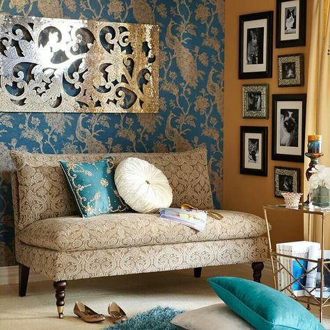 Gold and blue living room
