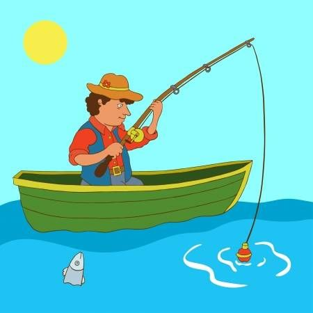 Illustration Of Illustration With Fisherman And Fish Vector Vector Art Clipart And Stock Vectors Image 18120029 Fish Vector Illustration Fish