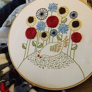 Dandelion Embroidery Kit Scandinavian Style Modern Hand Etsy In 2020 Embroidery Kits Hand Embroidery Kit Floral Embroidery Patterns