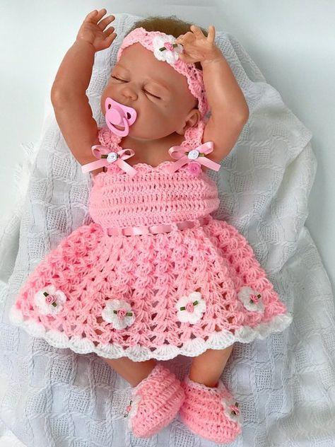 Hermosa Rosa Y Blanco Crochet Vestidos Para Bebé De