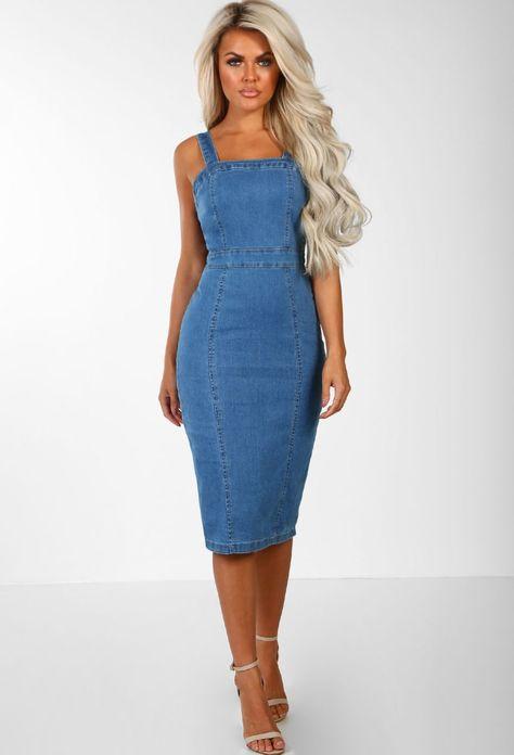 616df80f11 Denim Babe Mid Blue Bodycon Denim Midi Dress