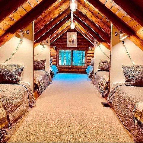 Summer camp, team building or pajama party? 😁😍 Tag your friends ✌🏻 Follo Attic Rooms, Attic Spaces, Attic Bedroom Kids, Attic Bedroom Designs, Attic Loft, Attic Remodel, Attic Renovation, Cabins In The Woods, Dream Rooms