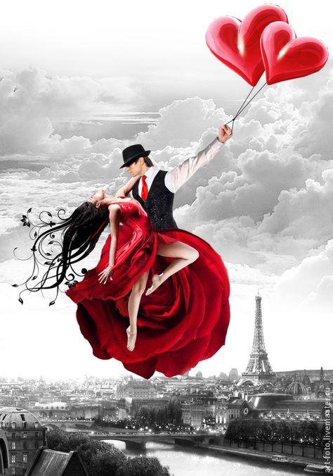 Панно - Парящие над Парижем 114х80см для Вашего интерьера – купить в интернет-магазине на Ярмарке Мастеров с доставкой - 5NQOFRU