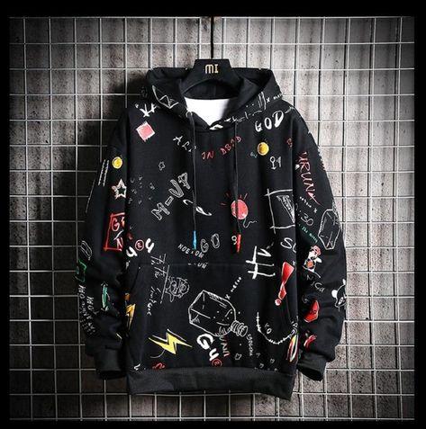 Unisex Casual Printed Streetwear Light Weight Hoodie - Black / 4XL