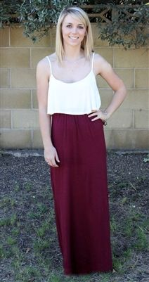 Maroon and white maxi dress