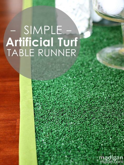 simple DIY artificial turf table runner craft- great for Father's Day dinner
