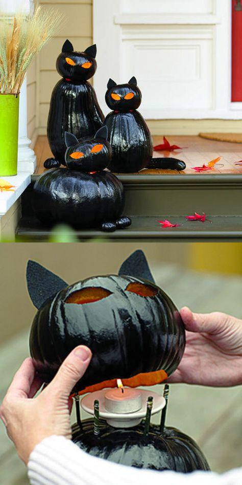 Halloween Pumpkins - Make black cat o'lanterns