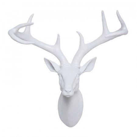 Kare Design Deer White Witte Hertenkop Wanddecoratie 31066 Hertenhoofd Reeenkop Hertenkoppen