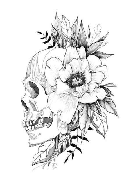 Kwiaty Tattoo Designs Szkice Skulls 35+ Pomysły #tattoo #flowers #rysunektatuazu