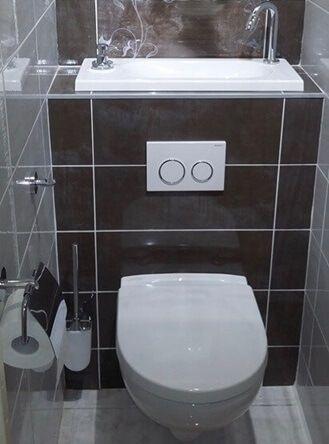 Habillage Type Mur A Mur Avec Carrelage Pour Wc Suspendu Wici Bati Commande Mecanique Et Robinet A Manip Habillage Wc Suspendu Wc Suspendu Toilette Suspendu