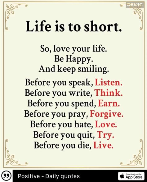 #quotes #life #short #before #think #lovequote #ad