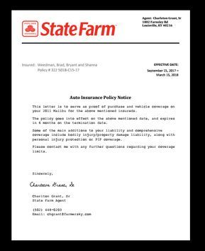 State Farm Insurance Letter Job Employment Claim Income