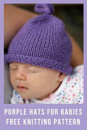 Purple Hats For Newborns Free Knitting Patterns Handy Little Me Baby Hats Knitting Hat Knitting Patterns Baby Hat Knitting Pattern