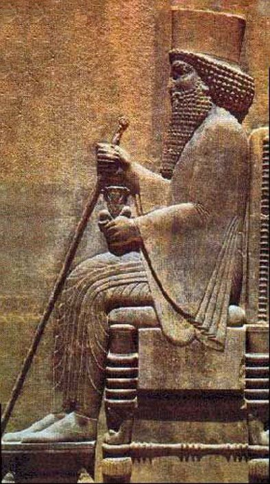 Darius-the-Great,-King-of-Persia-(522-486-B.C) wall relief of Darius on his throne