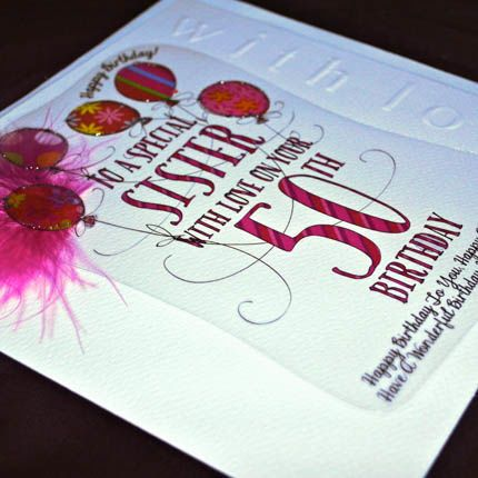 Handmade Sister 50th Birthday Card Large Luxury Birthday Card