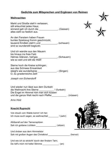Weihnachtsgedichte Zum Mitsprechen Und Erganzen Von Reimen Diverses Weihnachtsgedichte Gedichte Reime