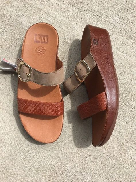 6a6fd9aed6af Fitflop Women s Stack Slide Dark Tan Tone Slide Wobble Board Sandals Shoes  10