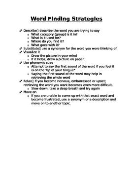 picture relating to Printable Aphasia Worksheets called Totally free! Phrase Discovering Suggestions Sheet Health care SLP Speech
